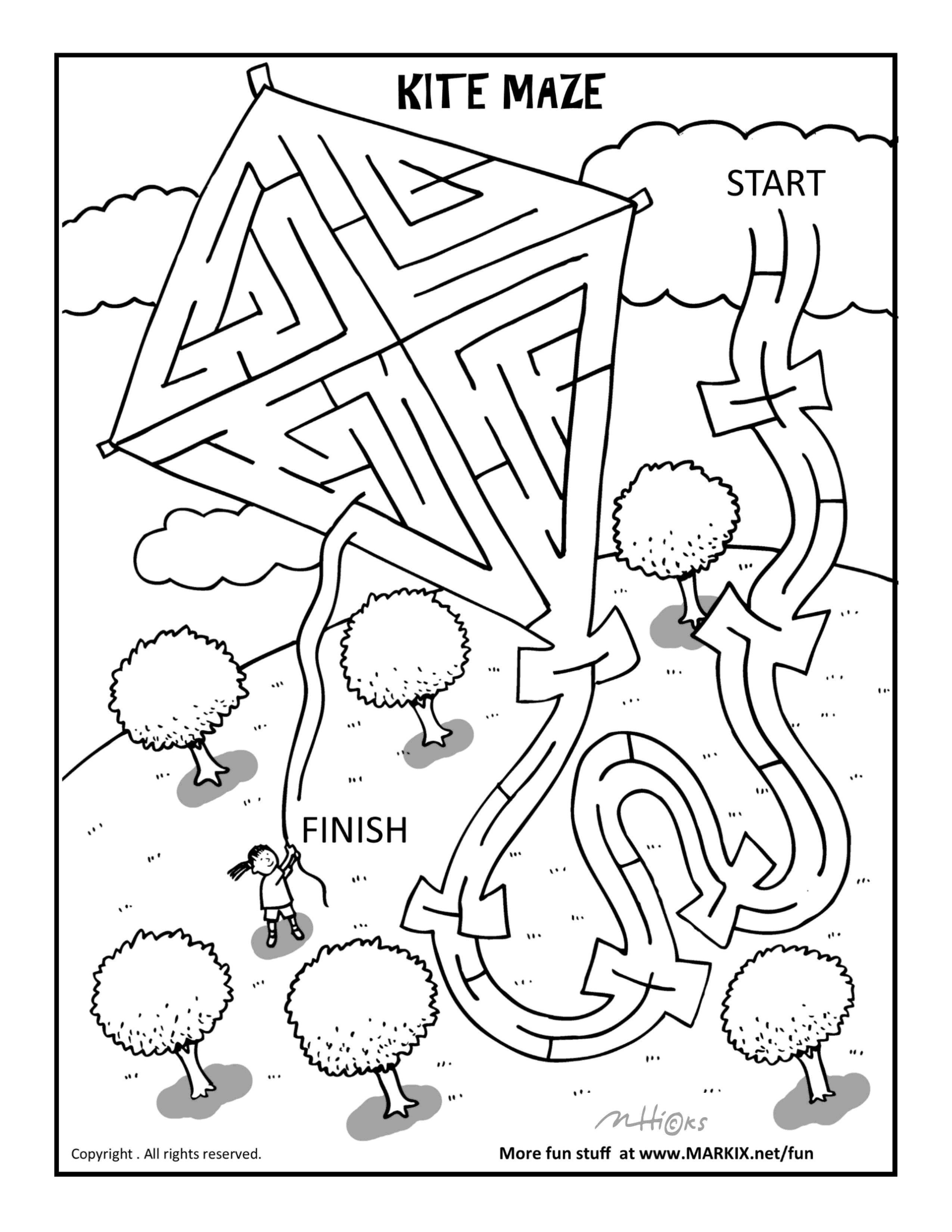 Kite Maze And Coloring Page Mazes For Kids Maze Coloring Pages