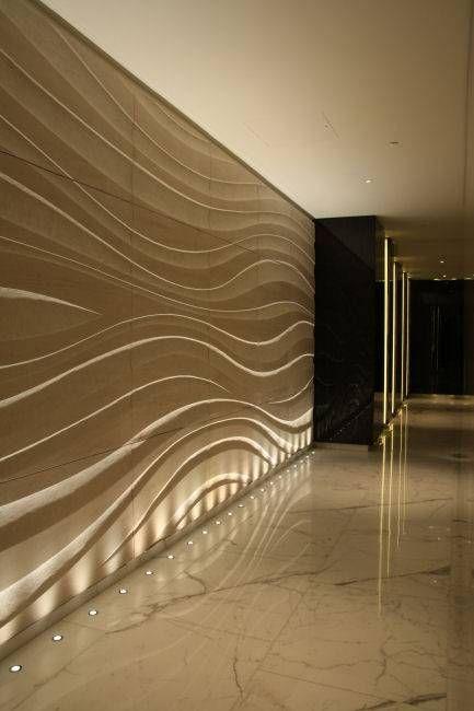 Indoor lighting interior design corridors wall for Texture in interior design
