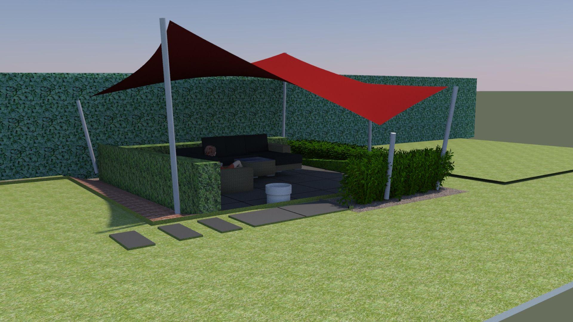 Overkapping Tuin Doek : Ontwerp voor een zonnedoek vrij liggend terras waterdicht doek