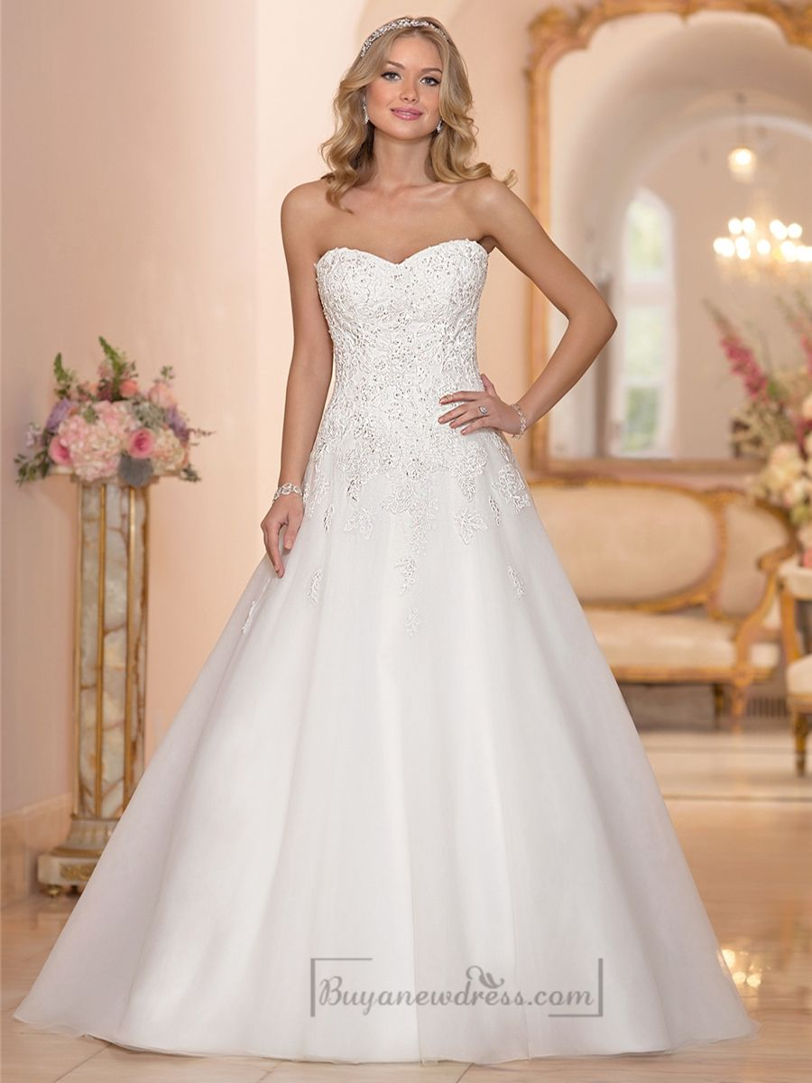 Strapless sweetheart embellished lace bodice aline wedding dresses