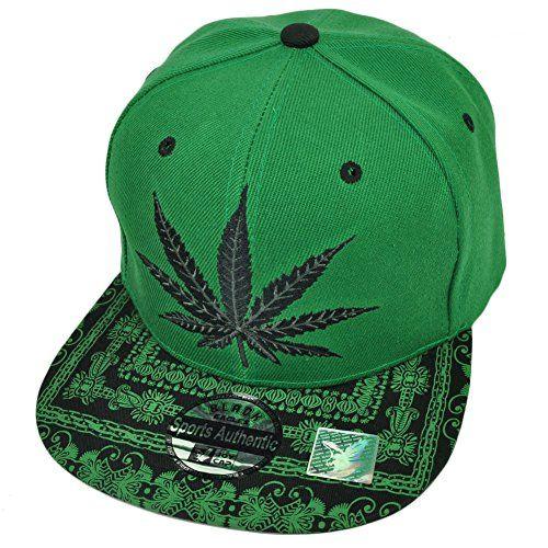 Weed Marijuana Snapback High Smoke Cannabis Ganja Flat Bill Hat Cap Kush  Green 49e20b7728c