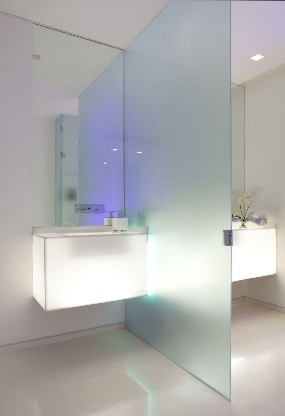 Interior Luxury White Granite Floor Powder Toilet With Glowing  # Muebles New Style Villa Tesei