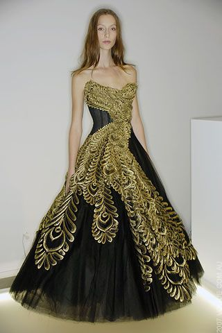 7eb3e089c0 Marchesa Black Gown with Gold Details, Featured on Gossip Girl as Blair's  Prom Dress