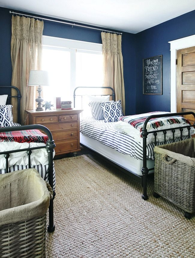 Vintage Navy, Red and White Bedroom Reveal | home | Farmhouse ...