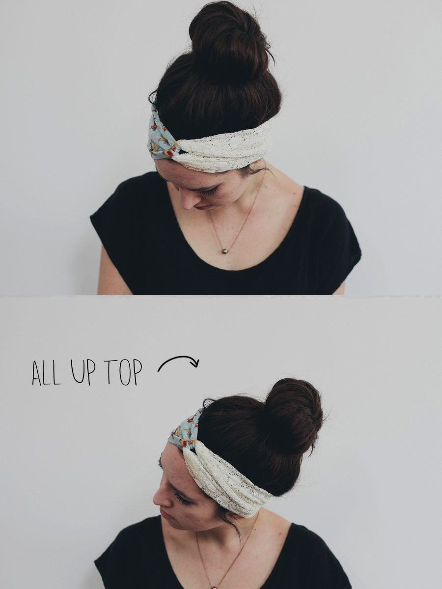 All Up Top //Pull all of your hair up into a top knot (see tutorial here) and then put on the headband along your hairline leaving out a couple soft pieces around your ears.