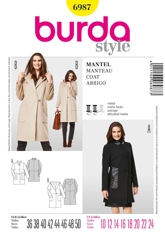36-48 Schnittmuster burda style No 8292 Mantel Gr