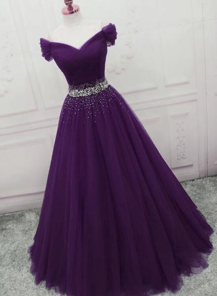 Charming Dark Purple Tulle Long Off the Shoulder Party Dress, Long Prom Dress