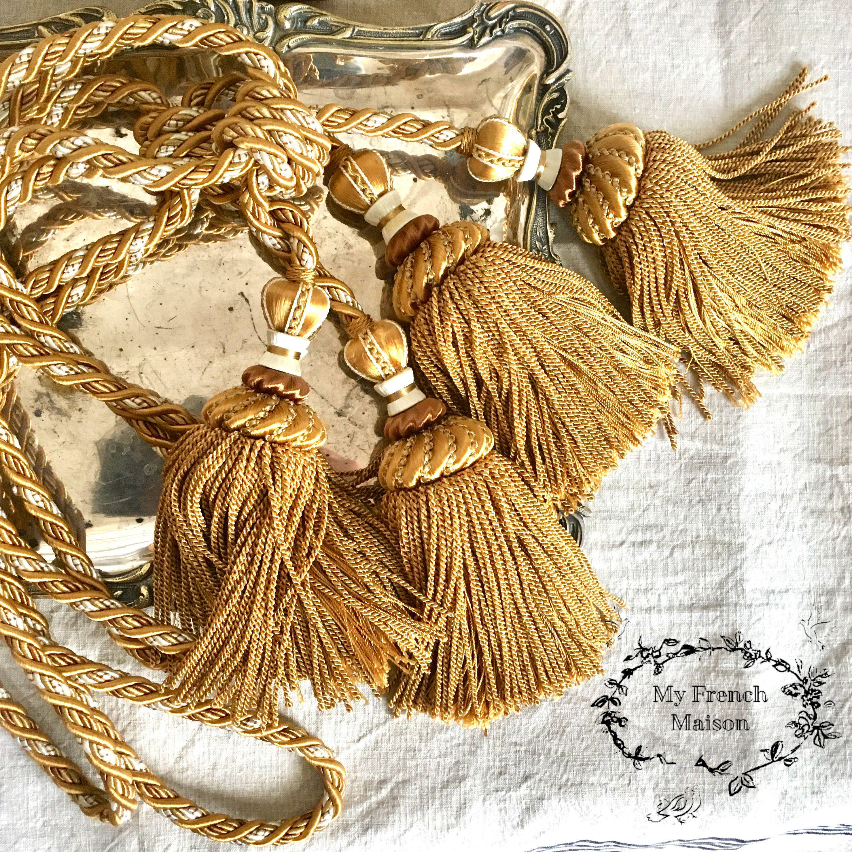 French Vintage Curtain Tiebacks French Tassel Drapery Ties Gold
