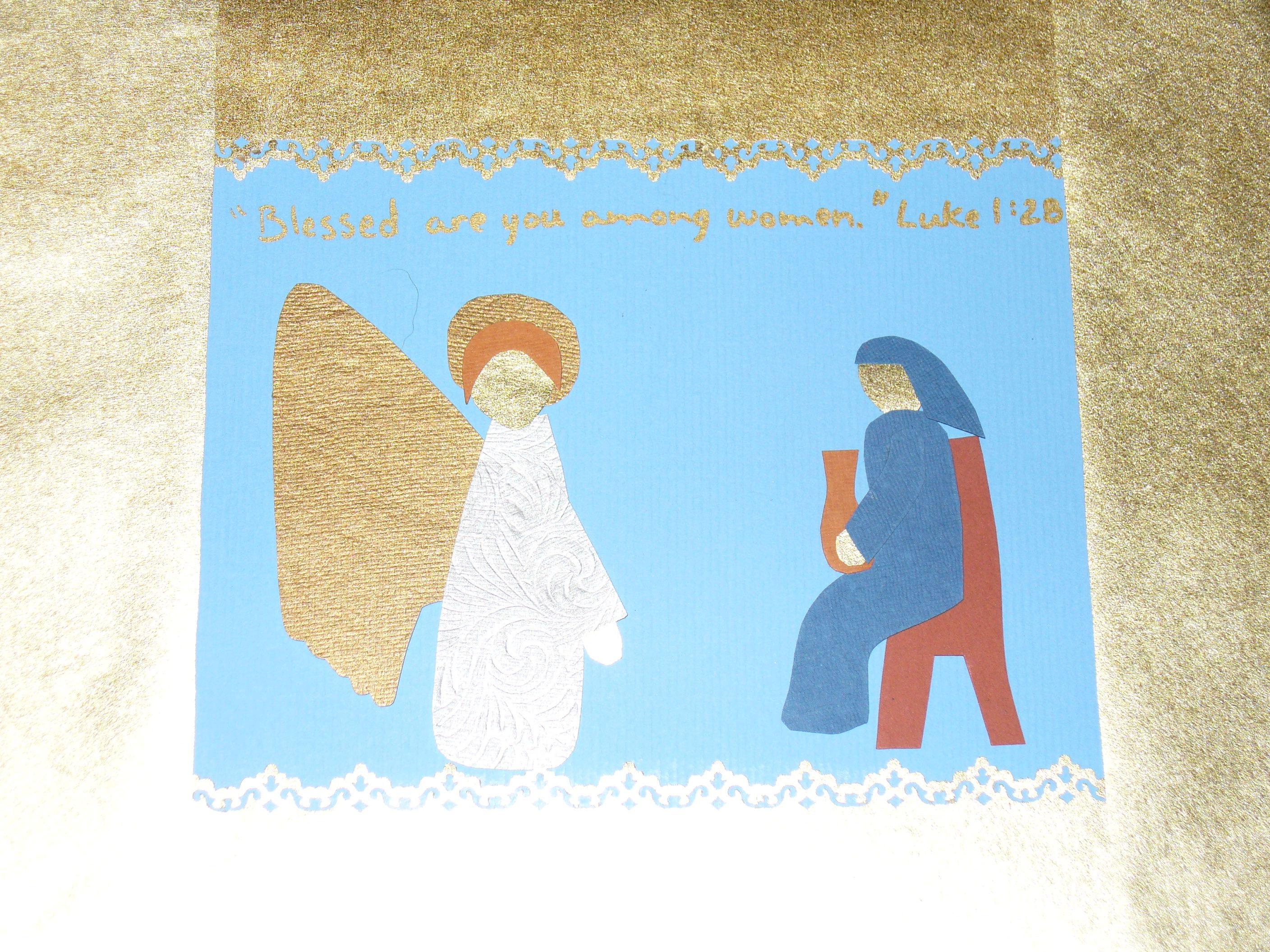 Annunciation Craft Handmade Paper Pieces And Lace Punched