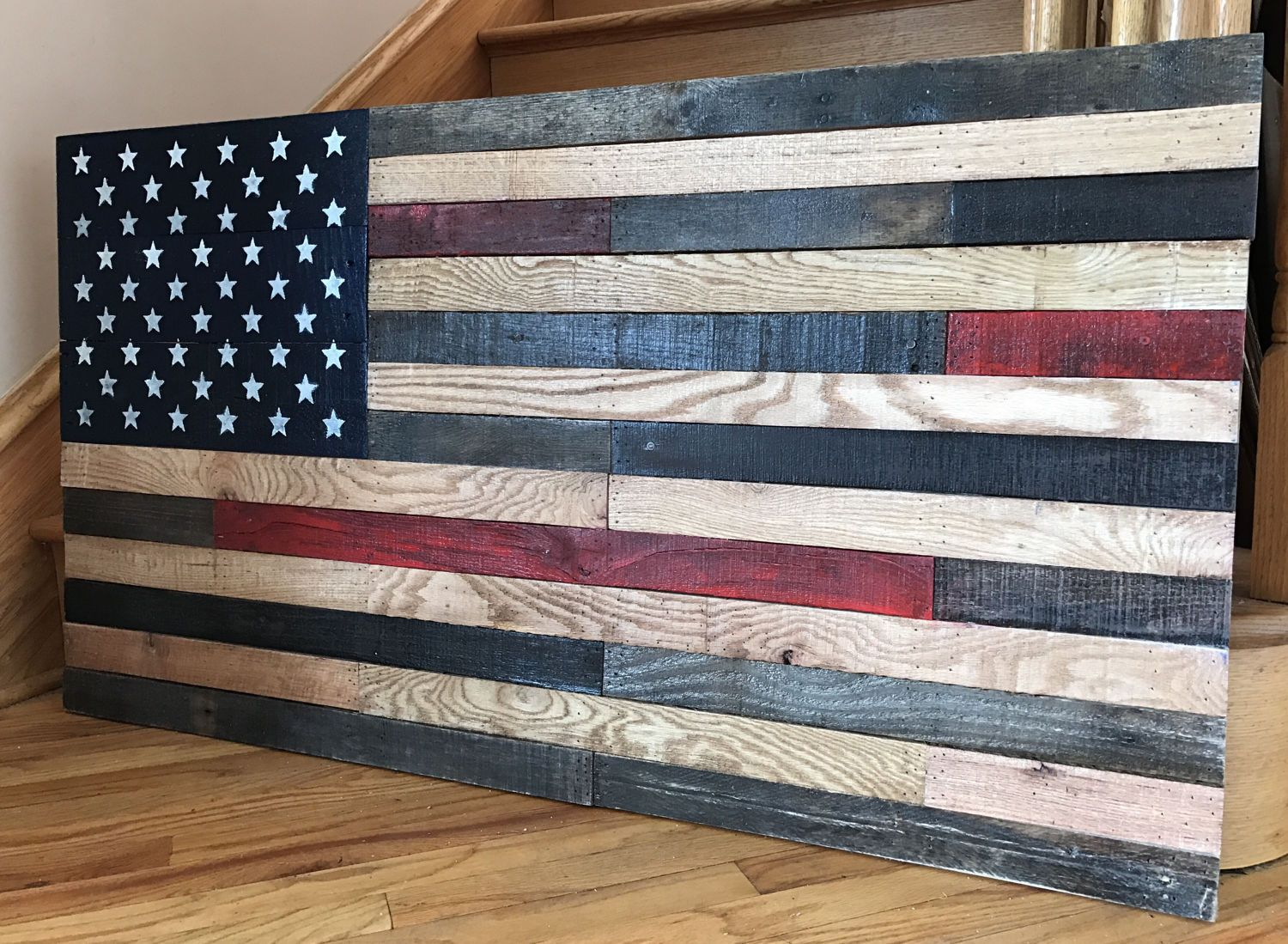 reclaimed pallet american flag 48 wide x 26 tall rustic. Black Bedroom Furniture Sets. Home Design Ideas