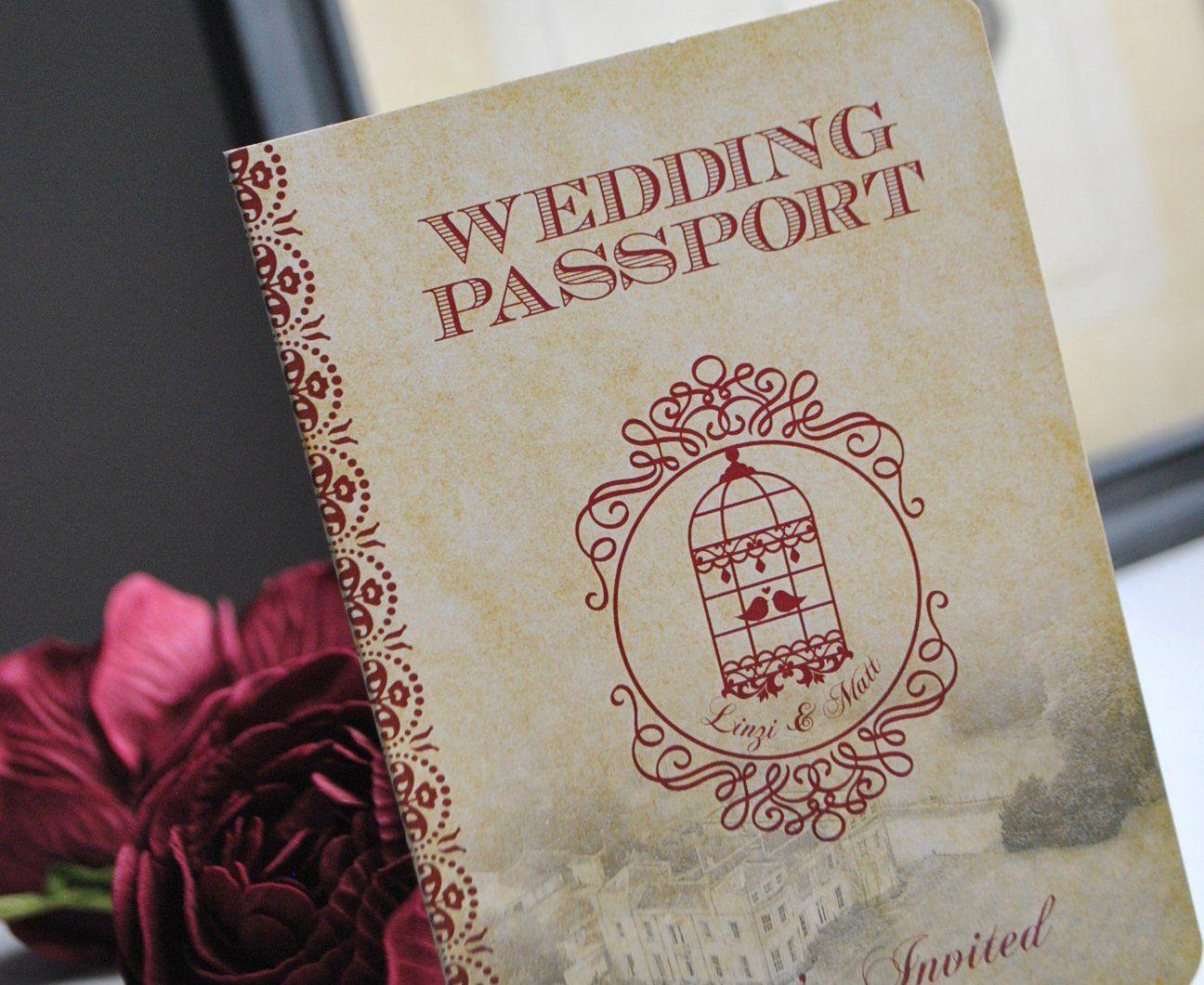 birdcage wedding invitation template%0A Rustic Passport Wedding Invitation with a Vintage Birdcage Design