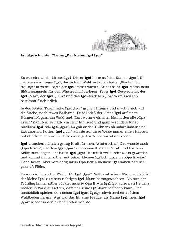 Inputgeschichte Igel - Kindersprache, SES | Kindergarten and Origami