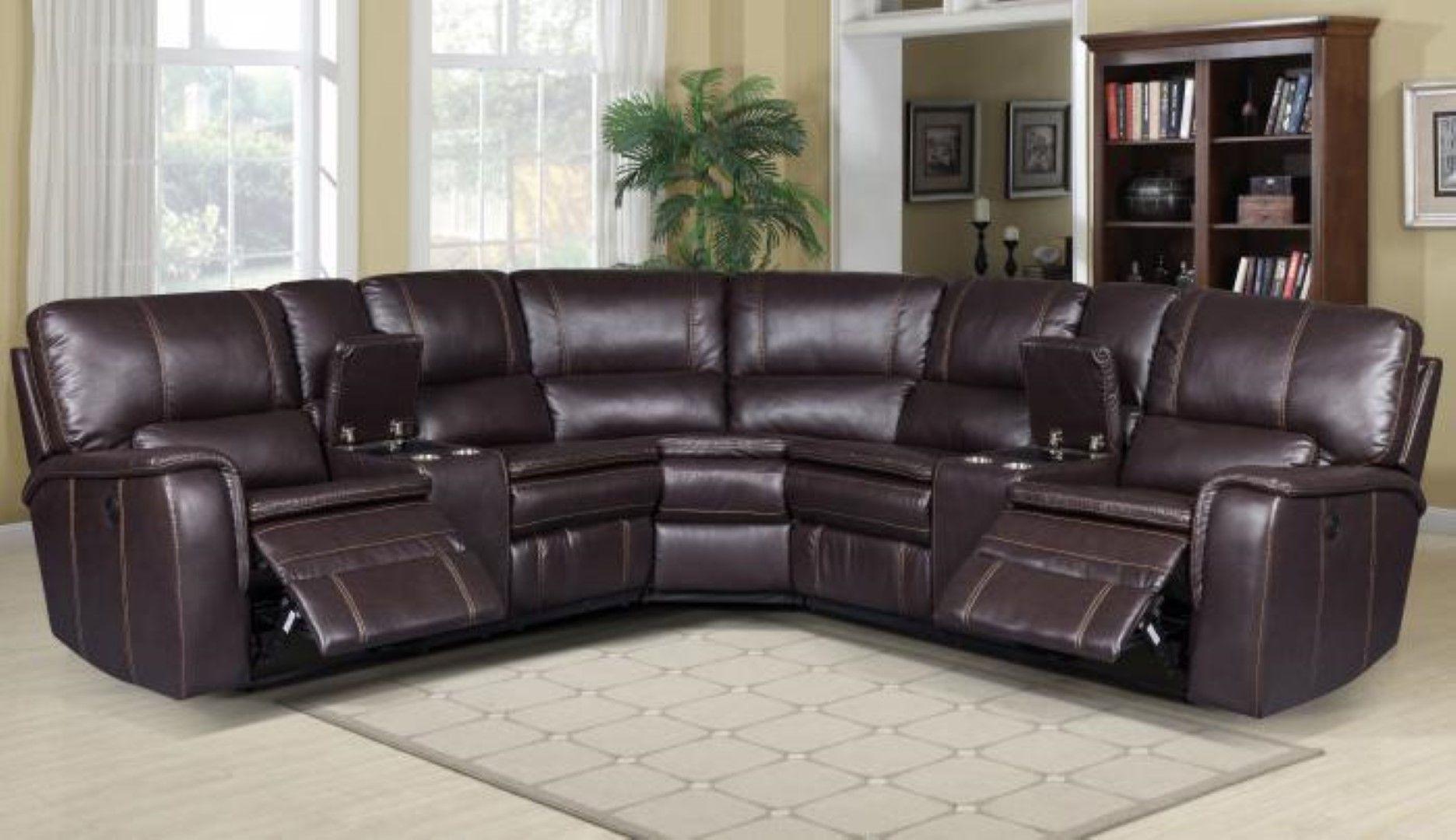 Belair brown 3 piece power reclining sectional reclining