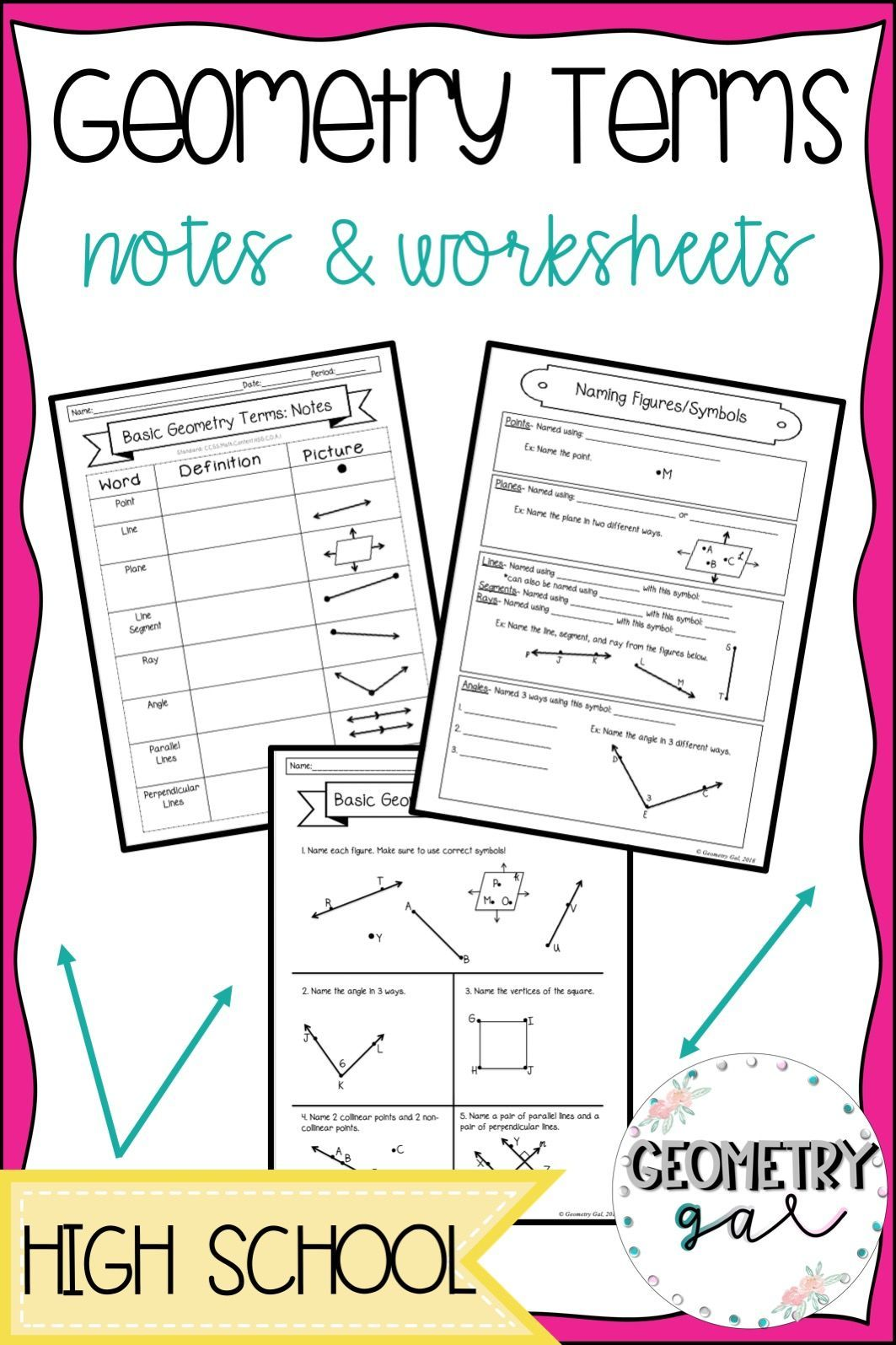 Geometry Terms Guided Notes and Worksheet Basic geometry