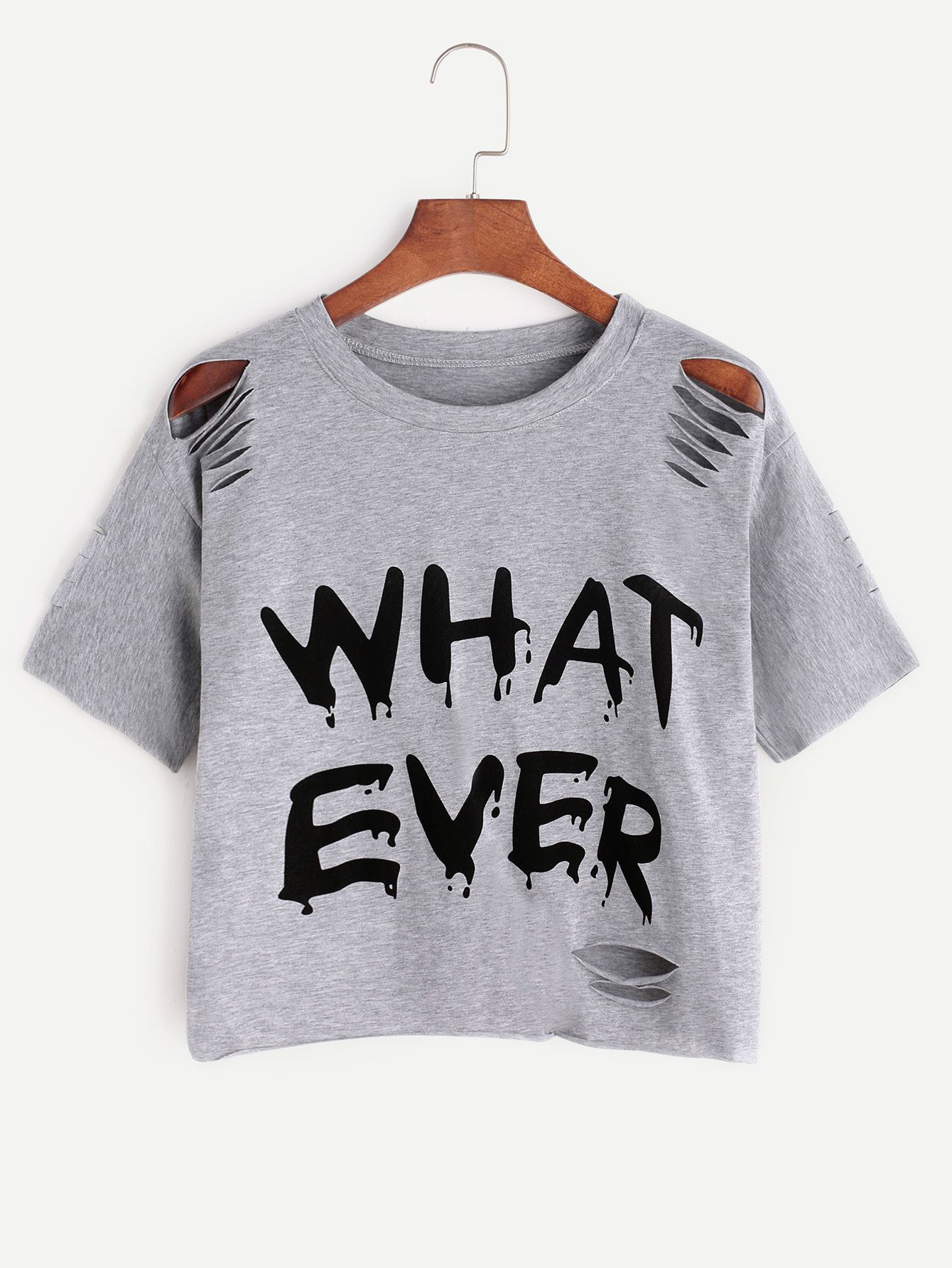 e7e4cc8c3d Shop Grey Letter Print Ripped T-shirt online. SheIn offers Grey Letter Print  Ripped