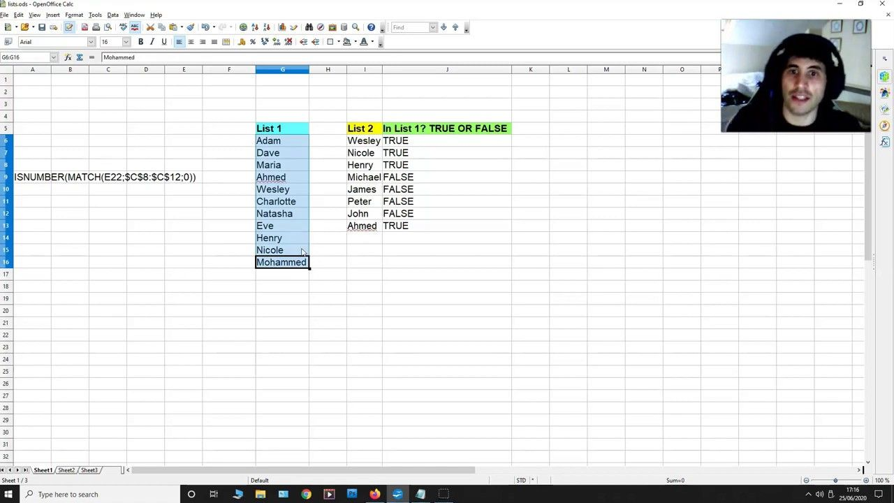 How To Compare Two Lists On A Spreadsheet Isnumber Match True Or Fals Spreadsheet True Compare