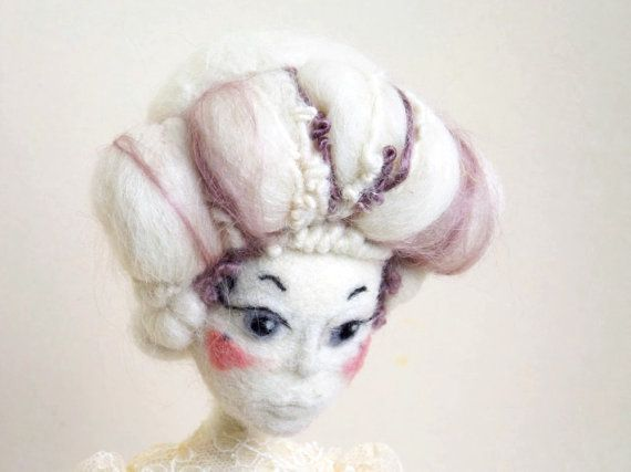 Marie Antoinette art needle felted art doll, Rococo interior doll with pink lavender dress, Whimsical Spring gift for french style lover