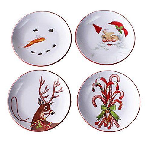 Melamine Retro Christmas Plates Set Of 4 Assorted Designs 180 Degrees Christmas