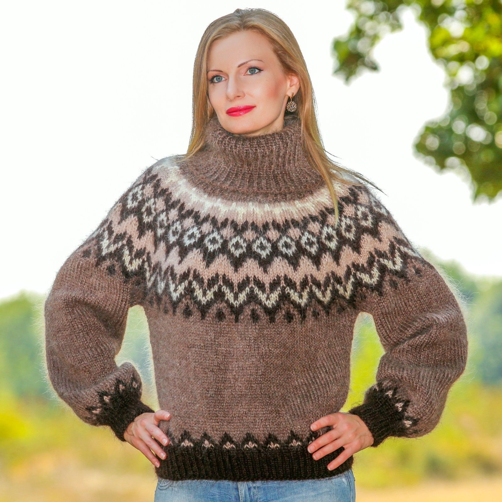 SUPERTANYA BROWN Hand Knitted Sweater Icelandic Fuzzy Nordic Mohair ...
