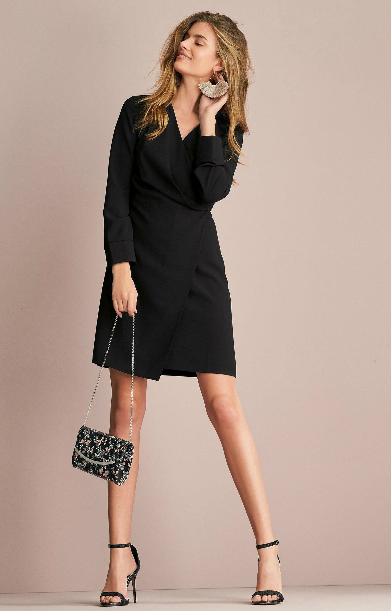 e5872276ce9 Robe courte portefeuille femme Next - Noir