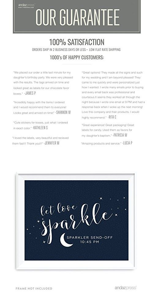 e213cb3d53 Andaz Press Love You to the Moon and Back Wedding Collection Personalized,  Party Signs, Let Love Sparkle, Sparkler Send Off, 8.5x11-inch, 1-Pack, ...