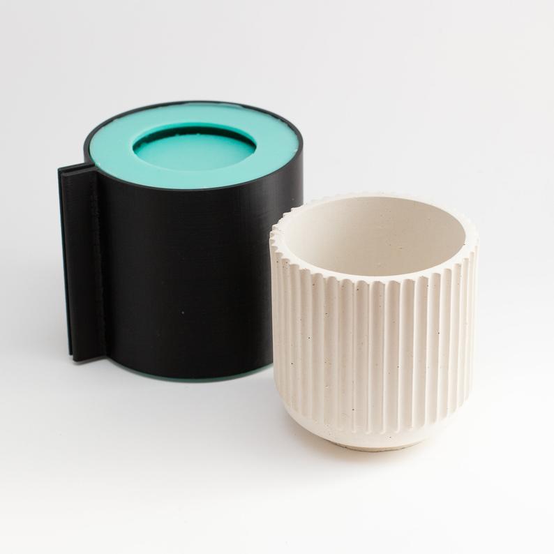 "3"" Ridge Silicone Pot Mold in 2020 Candle jars, Molding, Jar"