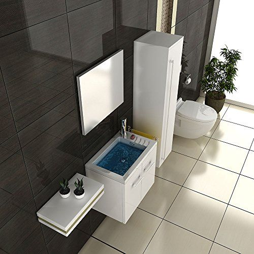 Badmöbel SET Waschtisch weiss Hochglanz Design Waschbecken - badezimmerschrank mit waschbecken
