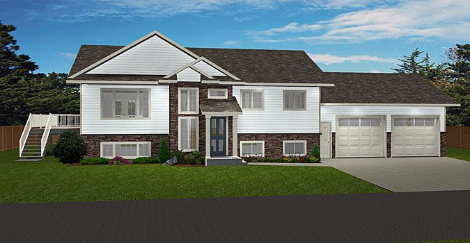 HOUSE PLAN 2016945 - BI-LEVEL WITH SIDE ATTACHED GARAGE by Edesignsplans.ca.  This plan is great for a corner lot with the side garage.  Front posts and stone accents the front covered entry.  Open concept with fully finished basement plan.