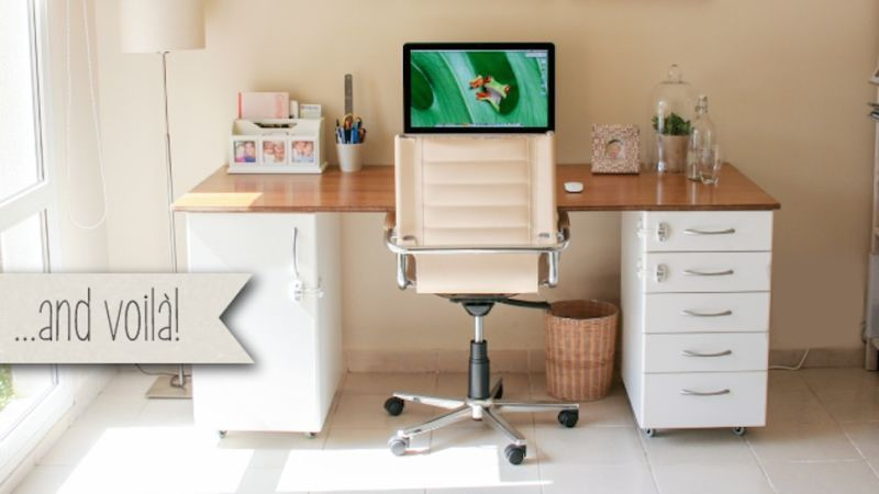 This Diy Office Desk Is Super Sturdy Built From Ikea Kitchen