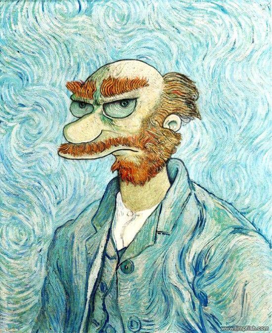 Les Simpson version Dali, Van Gogh, Rembrandt | Art de van gogh, Les simpson et Peinture classique