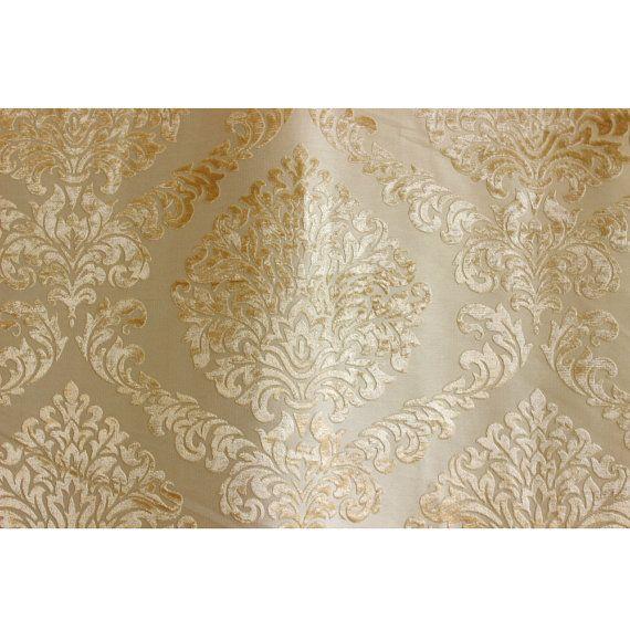 Light Gold N Ivory Damask Fabric Upholstery Fabric By Fabricmart Damask Decor Damask Pattern Damask