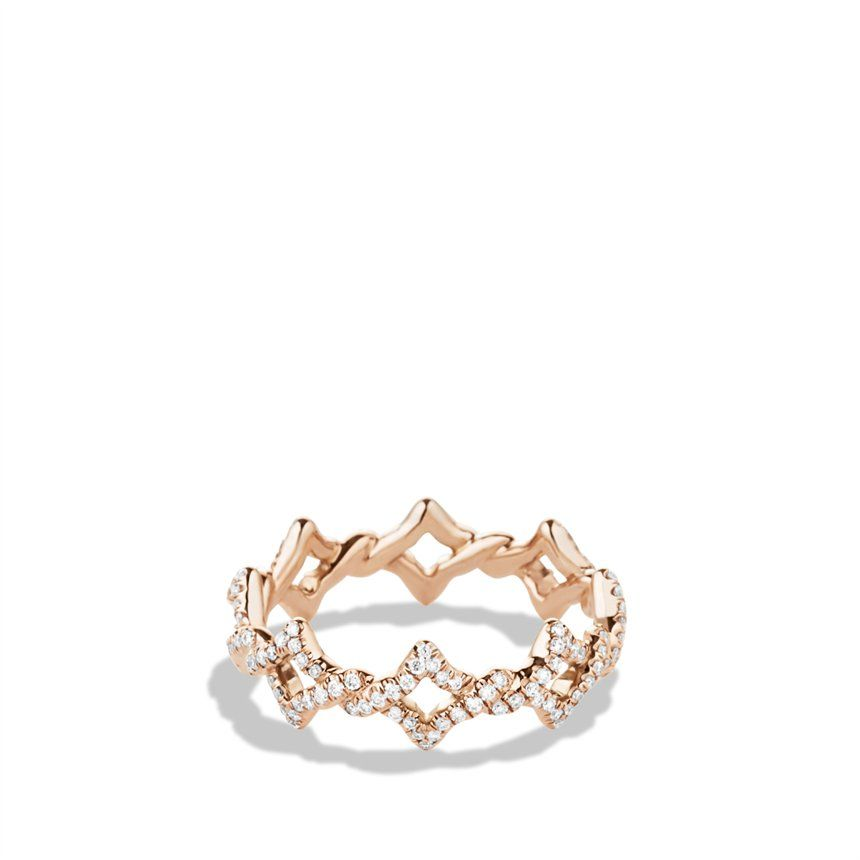 Venetian Quatrefoil Stacking Ring with Diamonds in Rose Gold
