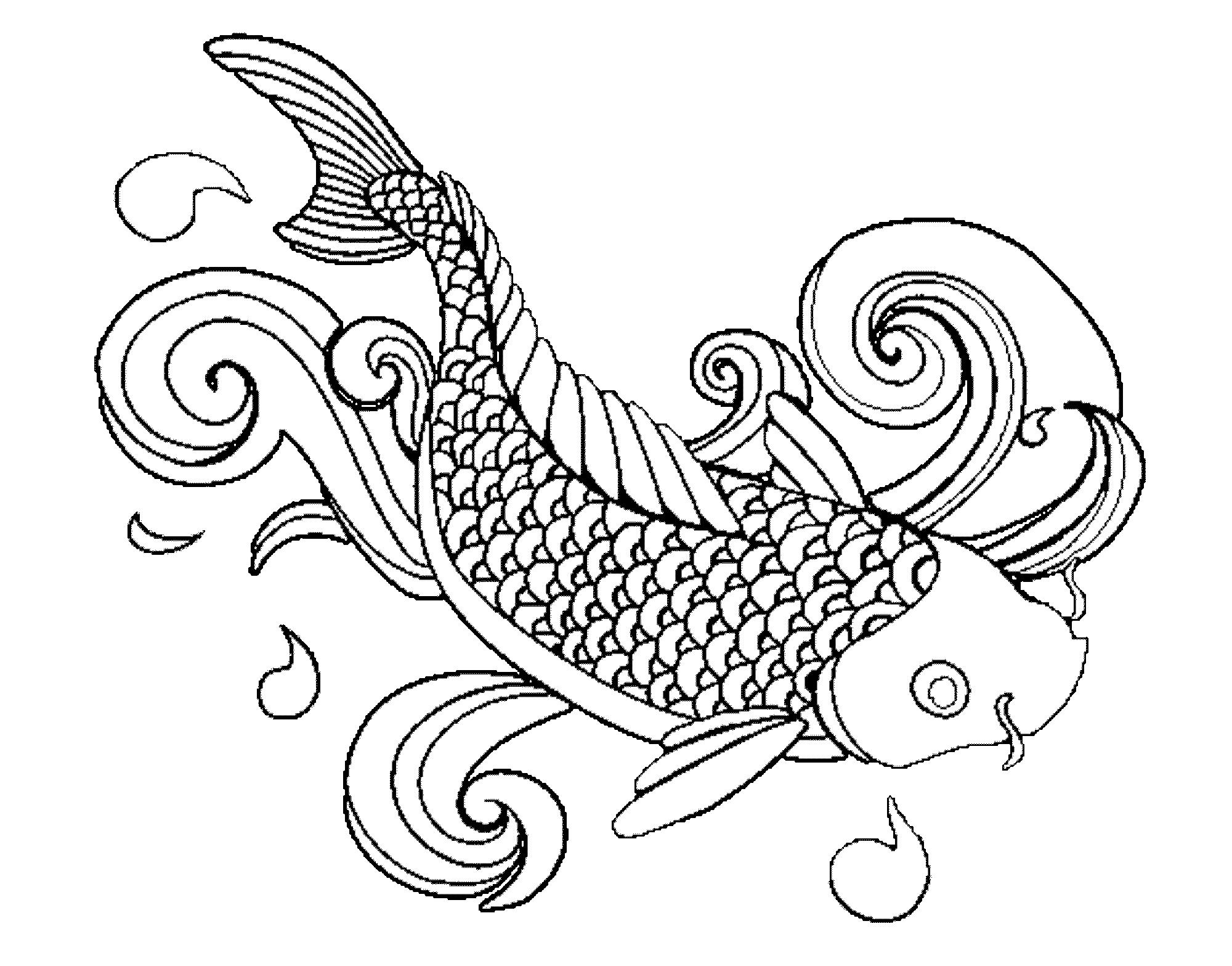 рыба карп картинка раскраска приморском курорте