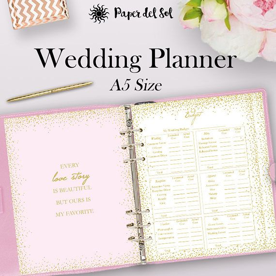 Filofax Wedding Planner Printable A5, Wedding Planner Binder