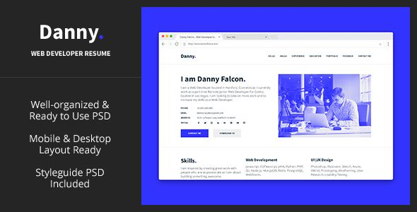 Danny u2014 Web Developer Resume PSD Template - Virtual Business Card - web developer resumes