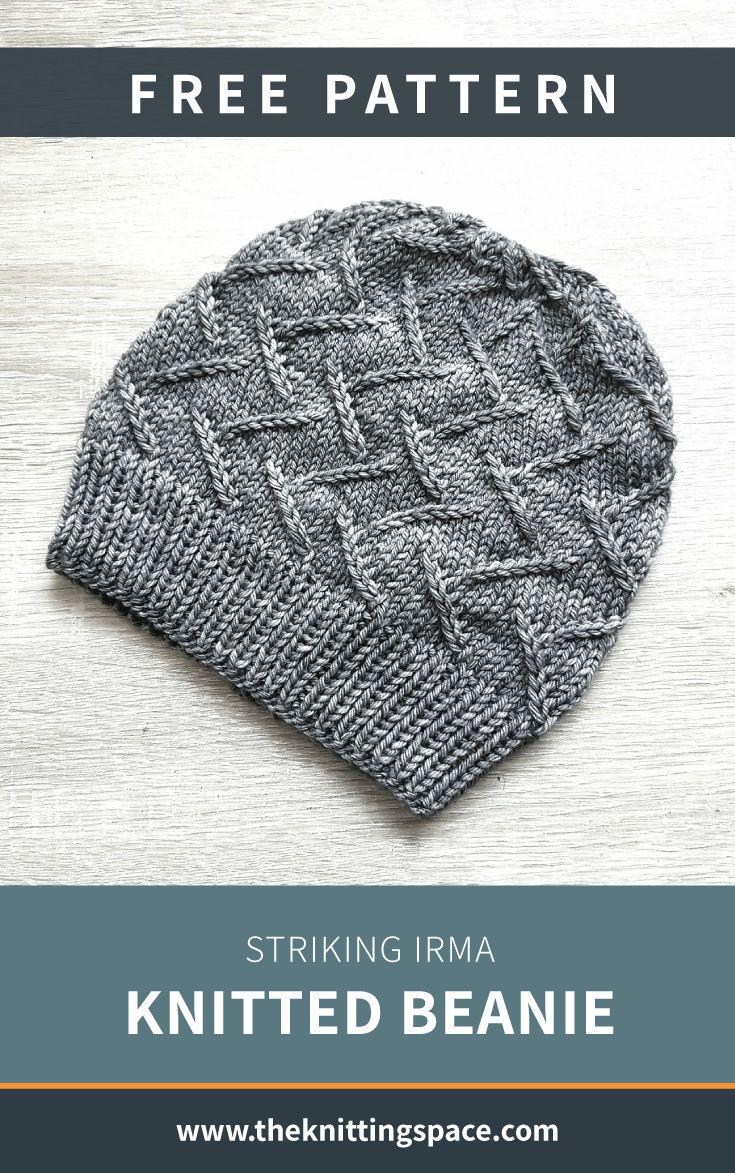 Striking Irma Knitted Beanie [FREE Knitting Pattern]