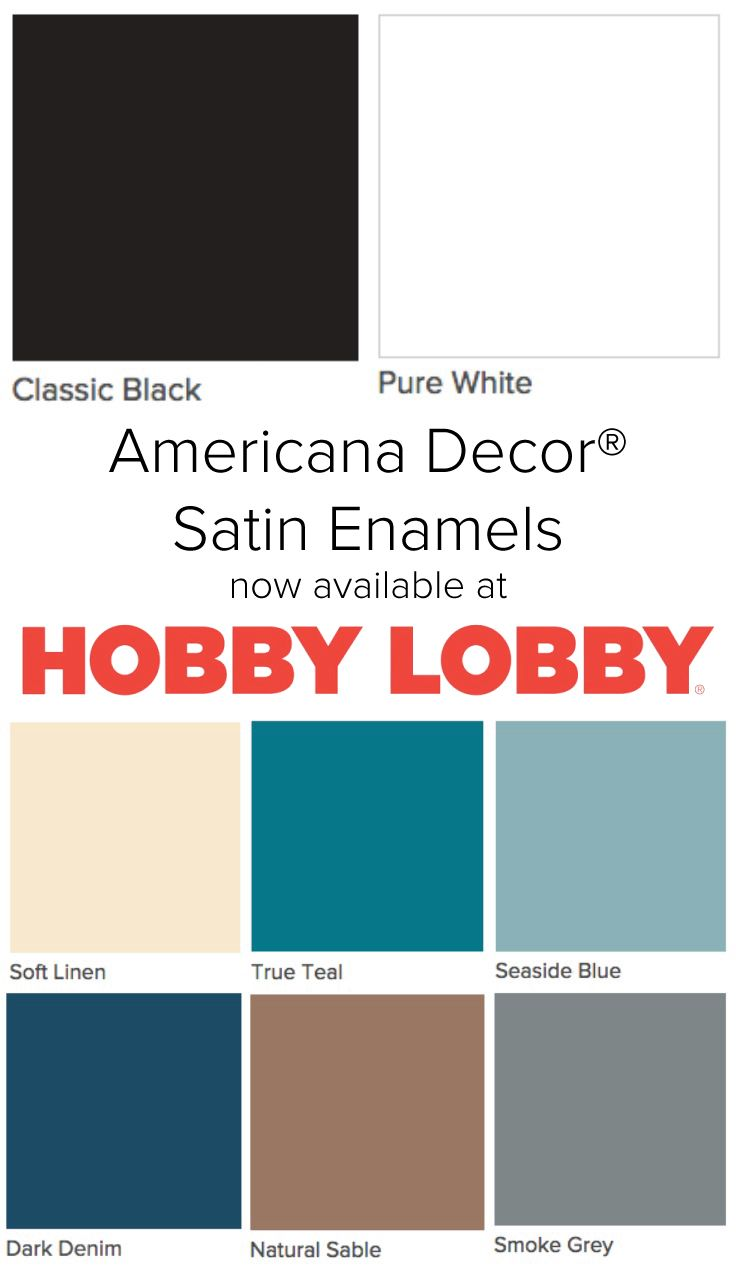 Americana Decor Satin Enamels are now available at all Hobby