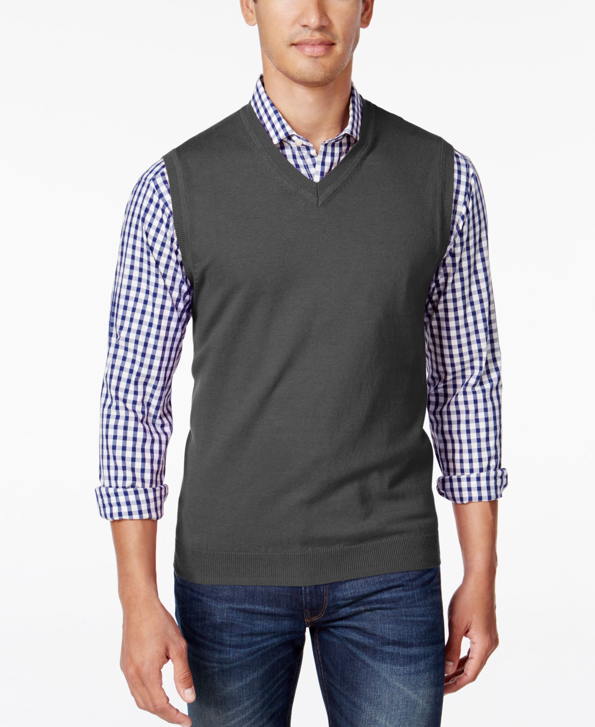 Club Room Men's Heartland V-Neck Sweater Vest, Only at Macy's ...