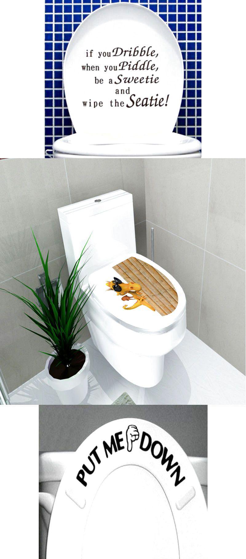 Diy toilet seat wall sticker decals vinyl art removable bathroom