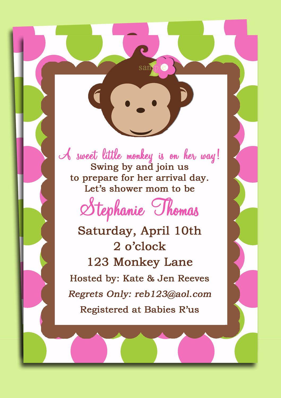 Mod Monkey Girl Invitation Printable | tarjetas | Pinterest | Mod ...