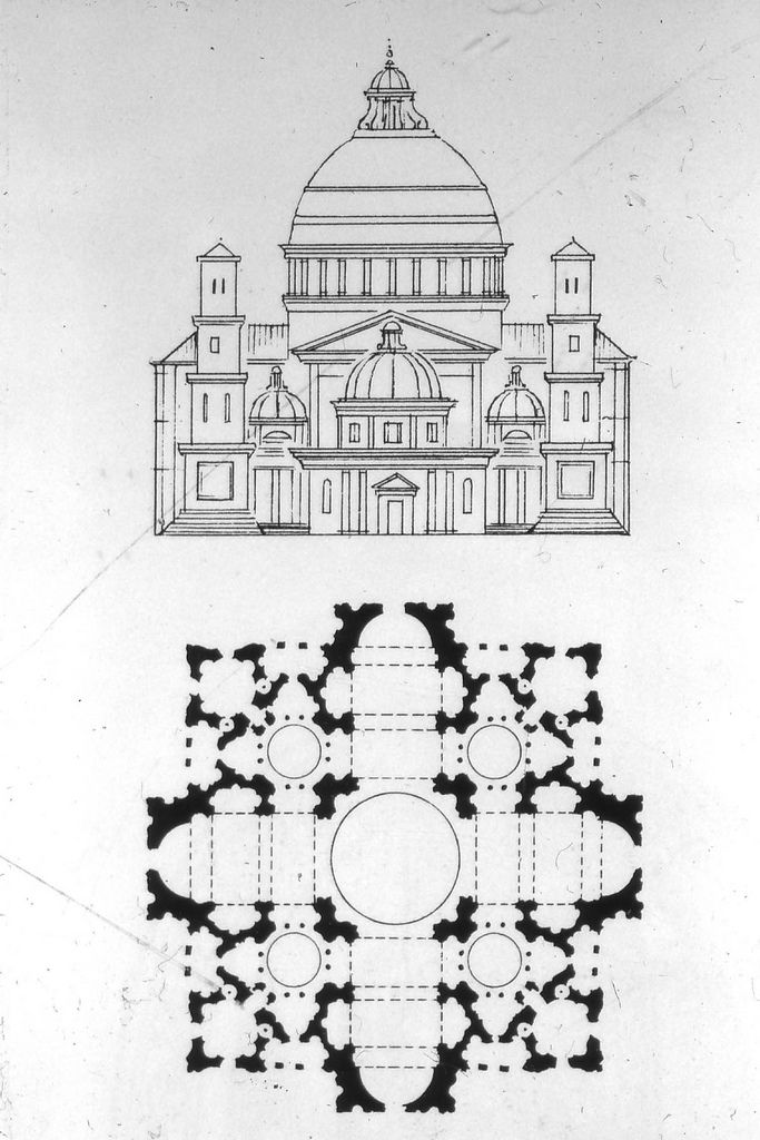 Bramante.St.Peter's.plan and elevation, c.1500