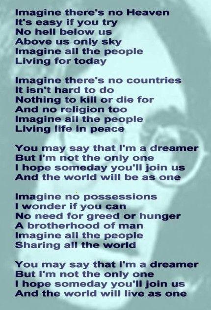 Imagine Imagine Lyrics Imagine Song Imagine John Lennon