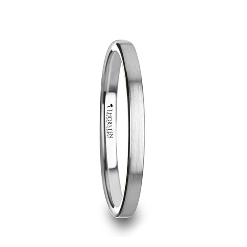 Tilly Flat Style Womens Tungsten Carbide Ring With Brushed Finish 2 Mm Tungsten Wedding Rings Womens Tungsten Rings Tungsten Carbide Rings