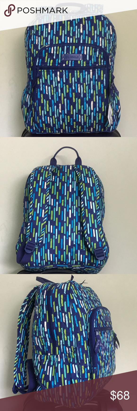 d68ba7c0ec Vera Bradley Campus Backpack in Katalina Showers Features a front zip  pocket with wide trim detail