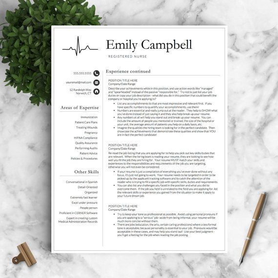 Nurse Resume Template for Word \ Pages   by LandedDesignStudio - nurse resume template