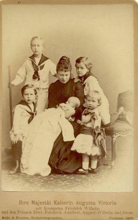 The Kasierin Auguste Viktoria of Germany with her five eldest sons: Crown Prince Wilhelm, Princes Eitel, Adalbert, August, and Oskar.