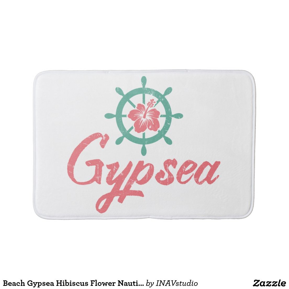 Beach Gypsea Hibiscus Flower Nautical Ship's Wheel Bathroom Mat
