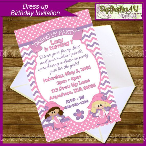Dress Up, Dress-up Birthday Party Invitation for Girl\'s ...