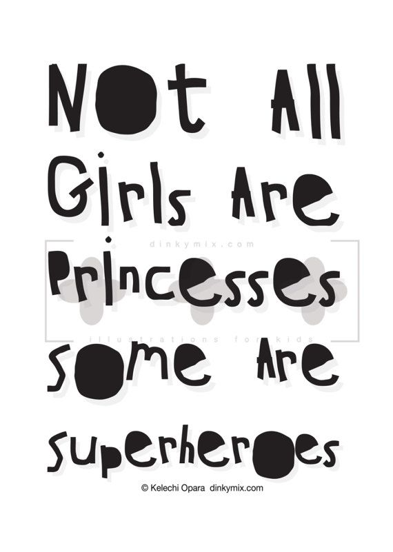 Superhero wall art 'Not all Girls Are Princesses' Girl