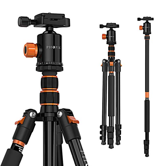 Amazon Com Phopik 77 Inches Tripod Lightweight Aluminum Camera Tripod For Dslr Photography Tripod With 360 Degree Camera Tripod Tripod Aluminum Photography